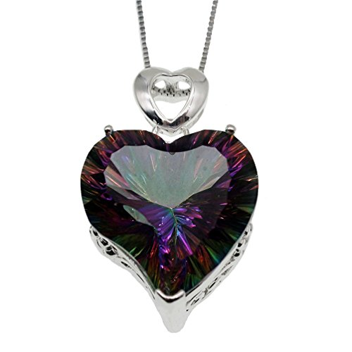 Vanessa Love Heart Pendant Necklace for Women 18inch, Fire Mystic Blue Topaz Gemstone Necklace Jewelry Gifts ()