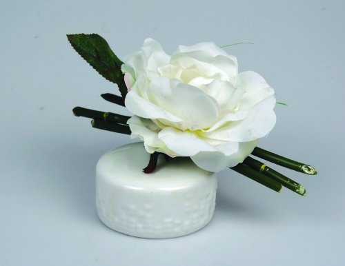 Silk White Rose with Artificial Bamboo in Faux Water - Liquid Illusions (Ceramic Vase with (Bamboo Liquid Illusion)