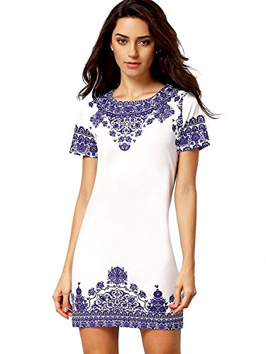 Floerns Women's Porcelain Print Short Sleeve Mini Top Shirt Dress White Blue M