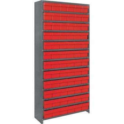 (Quantum Storage Closed Shelving System With Super Tuff Drawers - 18in. x 36in. x 75in. Rack Size, Red, 13 Shelves, 72 Bins)