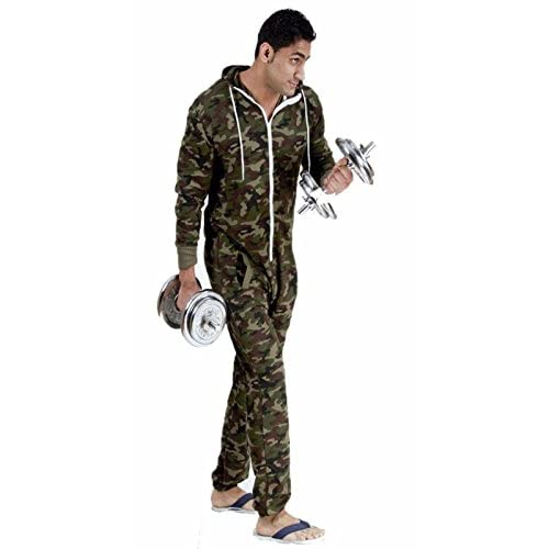Cheap Forever Womens Unisex Camouflage One Piece Army Hooded Zip Onesie Jumpsuit for cheap