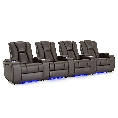 Seatcraft Serenity Leather Home Theater Seating Power Recline with In-Arm Storage, Lighted Cup Holders, and Ambient Base (Row of 4, Brown)