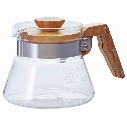 (Hario VCWN-40-OV Coffee Server Wood-400ml, 400 ml Olive Wood)
