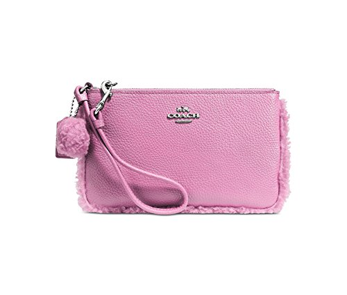 (Coach Womens Shearling Leather Contrast Trim Wristlet Handbag Pink Small)