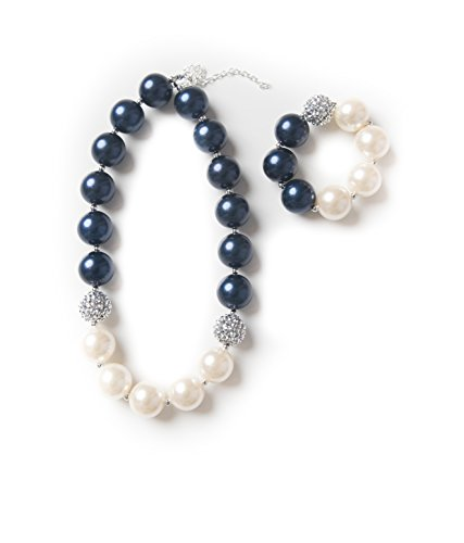 Girls bubblegum necklace and bracelet set (Navy & cream set)
