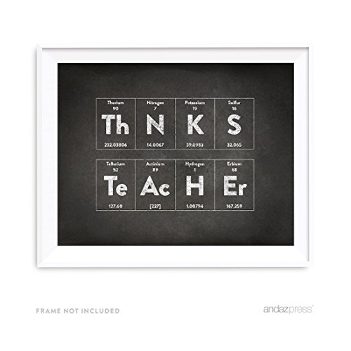 Andaz Press Periodic Table of Elements Wall Art Decor, Vintage Chalkboard Print, 8.5x11-inch, Thanks Teacher, Back to School Science Chemistry Physics Teacher's Appreciation Graduation Gift, Unframed (Vintage Periodic Table)