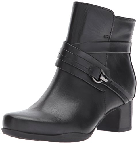 Clarks Women's Rosalyn Page Ankle Bootie, Black Waterproof Leather, 9.5 M US by CLARKS
