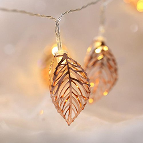 2M 10 Tress Leaves LED String Light, Dirance Indoor Outdoor Fairy Iron Night Light Lamp Festival Party Wedding Girl Bedroom Home Decor (Gold) by Dirance (Image #5)
