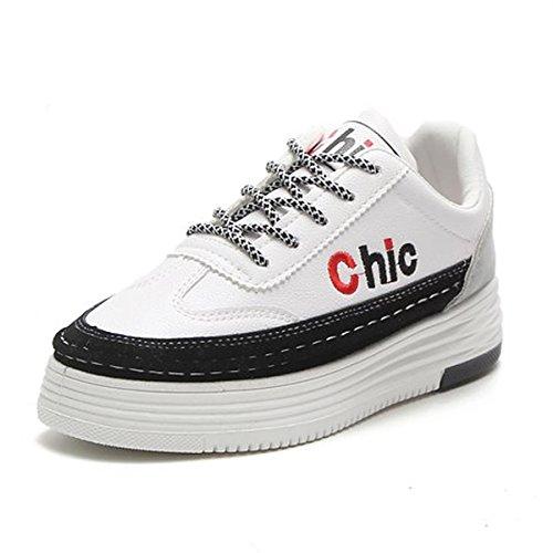 DIMAOL Chaussures Femmes de Chaussures de Confort D'Été du Ressort de PU Télévision Bout Rond Noir Blanc Gris Occasionnels,Black,US8/EU39/UK6/CN39