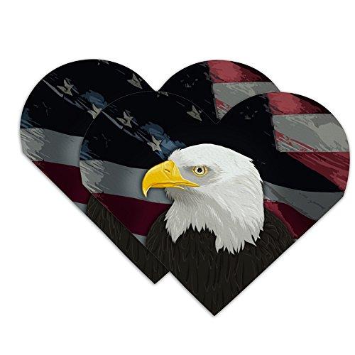American Bald Eagle Flag USA Patriotic Heart Faux Leather Bookmark - Set of 2