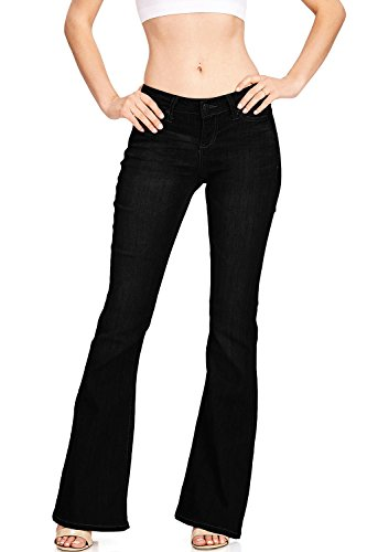Celebrity Pink Women's Juniors High Waist Fitted Flare Bottom Jeans (3, Black)