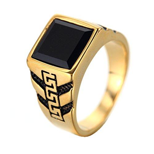 COPAUL Anillo de oro de piedras preciosas de diamante negro simple de acero  inoxidable para hombres 126f6961c43