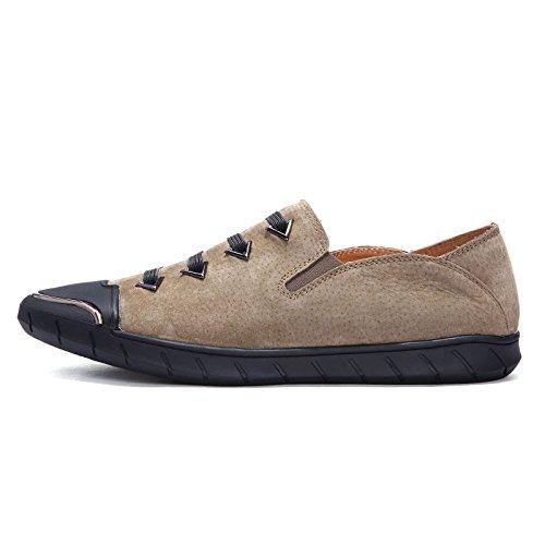 Pointy Fond Kaki Boucle Hommes Porter Rond Lerther Cérémonie Vêtements Ceinture Chaussures Coton Plat De Souple Porter Jeunesse waOqHzaB