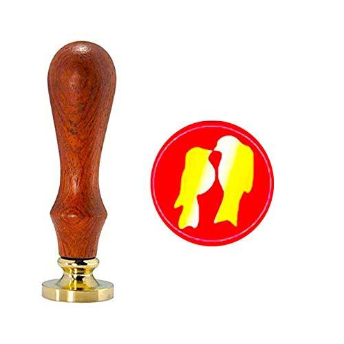 YGHM Love Birds Wax Seal Stamp Elegangt Natural Rosewood Handle Sealing Wax Stamp Kit Gift Wine Package Wedding Invitations Card Envelope Letters Seal Stamp (Bird Wedding Invitation Kits)