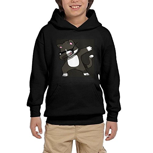 Youth Black Hoodie Dabbing Cat Funny Hoody Pullover Sweatshirt Pocket Pullover For Girls Boys XL