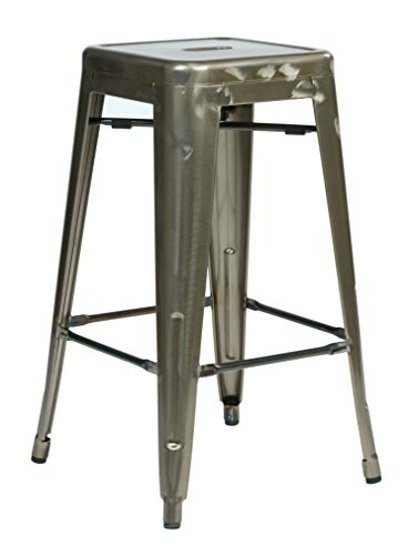 Office Star Bristow Antique Metal Barstool, 26-inch, Gun Metal, 2-Pack by Office Star
