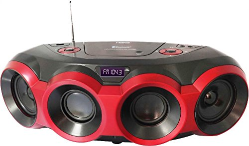 NAXA Electronics NPB-266 MP3/CD Boombox with Bluetooth (Red & Black) by Naxa Electronics