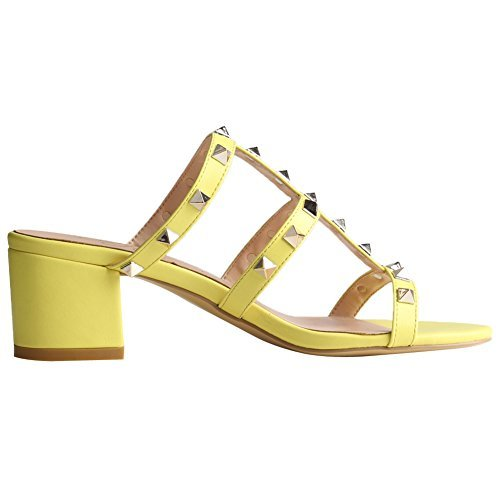 Comfity Mules For Women,Rivets Slippers Rockstudded Block Heels Hollow Out Slingback Sandals Yellow