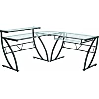 Z-Line Belaire Glass L-Shaped Computer Desk