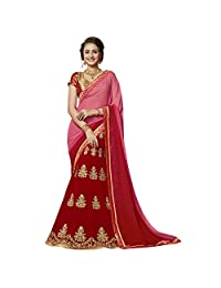 Aksaa Fashions Chiffon Pink Festival Wear Embroidered Half n Half Lehenga Saree