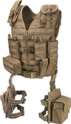BARSKA BI12344 Loaded Gear VX-100 Tactical Vest & Leg Platforms (Flat Dark Earth)