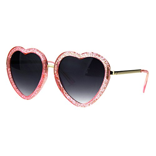 Glittery Heart Shape Sunglasses Sparkly Love Fashion Womens Shades UV 400 - Pink Sunglasses Sparkly