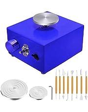 S SMAUTOP Mini rueda de cerámica, DIY Herramienta de moldeo de cerámica Mini máquina de cerámica Eléctrica 6.5 cm 10 cm Plataforma giratoria para trabajo de cerámica Cerámica Arcilla Arte Craft (Azul)
