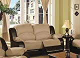 Upholstery Recliner Loveseat Sofa - Beige and Brown Finish