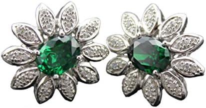 Jade Engel Mode, 925 Silber Erstellt Smaragd und Zirkonia Klar Zirkon Ohrstecker