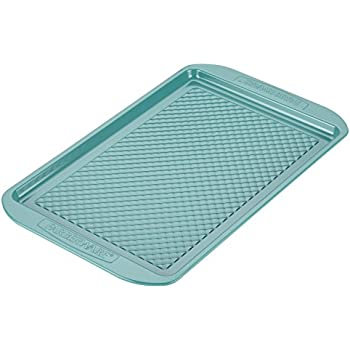 "Farberware Purecook Hybrid Ceramic Nonstick Bakeware Baking Sheet and Cookie Pan, 10"" x 15"", Aqua"