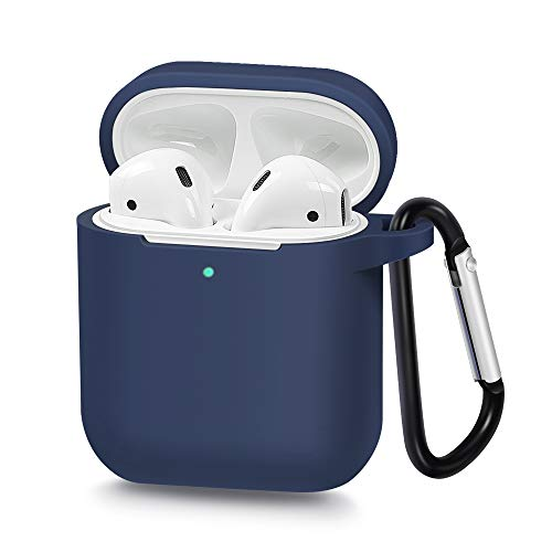 AirSha Compatible for AirPods Case with Keychain,[Support Wireless Charging],Shockproof Protective Silicone Cover Skin for AirPods Charging Case 2 & 1 (Midnight Blue)