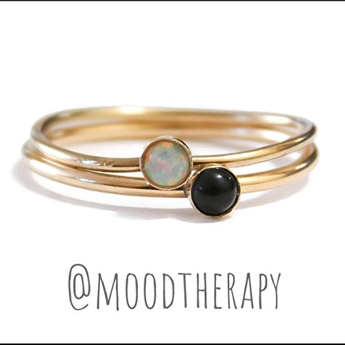 Fire Onyx - 3MM White Fire Opal/Black Onyx Stackable Stacking Ring Set 925 Sterling Silver 14K Yellow/Rose Gold Filled