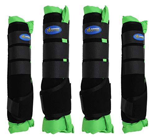 Professional Equine Horse Horse 4-Pack Leg Care Stable Shipping Neoprene Boot Wraps Green 4120LG