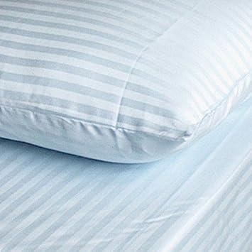 EGYPTIAN BEDDING Parure de lit en Coton /égyptien 600 Fils//Pouce carr/é Motif ray/é Bleu King Size