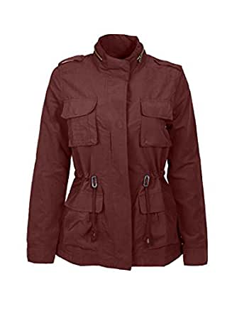 Azkara Women's Military Anorak Drawstring Jacket In Various Styles Large Burgundy (8079JS-18)