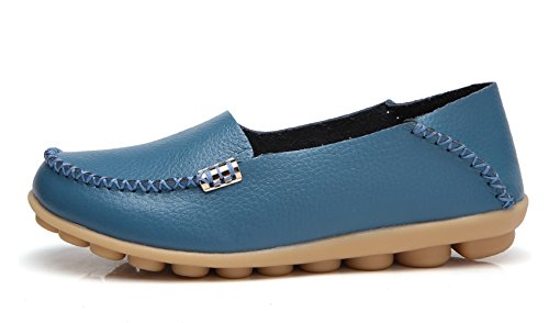 Venuscelia Womens Natural Comfort Walking Flat Loafer Blue
