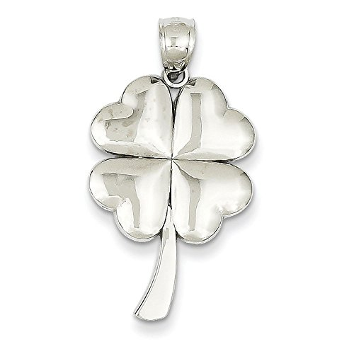 Or blanc 14 carats Pendentif Trefle 4 feuilles-Dimensions :  32 x 17 mm-JewelryWeb