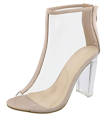 Sale Nude Clear Bootie Lucite Block Mid Sized Heel Slingback Pump Strappy Prime Sandal Peep Toe Slide Formal Black Dress Party Special Sexy Shoe Mother Day Gift Idea 2018 for (Lucite Slide)