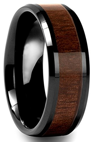 Men's Beveled Black Tungsten Ring with Black Walnut Wood Inlay Wedding Band,8mm US Size 7-12