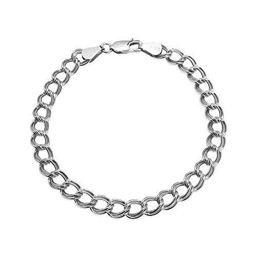 Sterling Silver 6mm Italian Double Link Chain Bracelet for Charms, 7 Inches