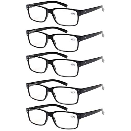 Reading Glasses 5 Pairs Quality Readers Spring Hinge Glasses for Reading for Men and Women (5 Pack Black, ()