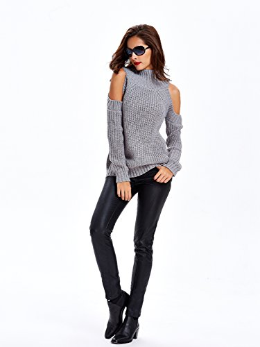 4abbed6d293800 ... Choies Women Black Turtleneck Cut Out Cold Shoulder Ribbed Knit Slim  Pullover Sweater ...