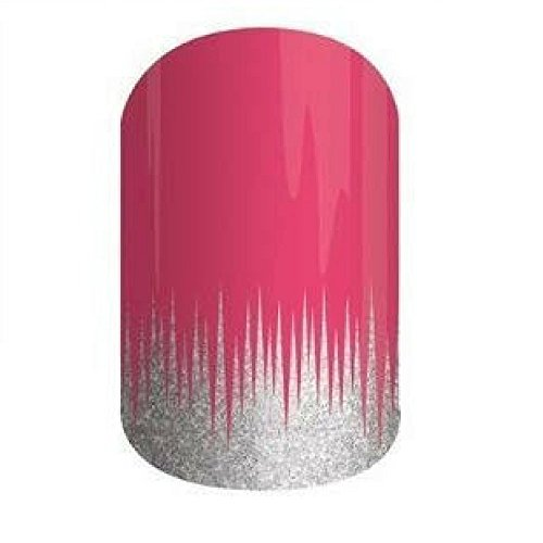 Jamberry Nail Wraps - Gone Dancing - Full Sheet - Silver Sparkle Icicles on Pink