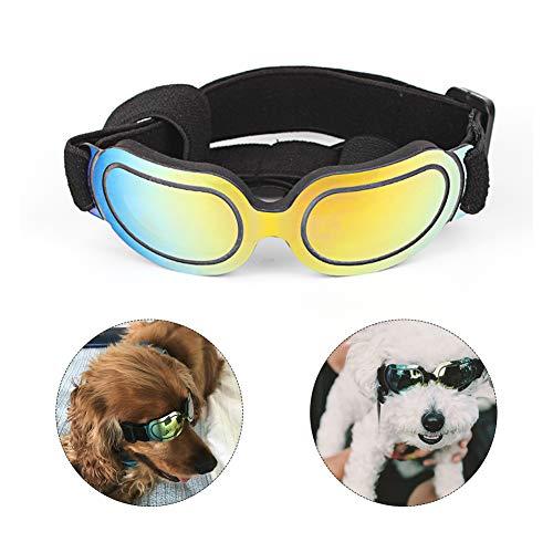 (Petneces Dog Glasses Pet Sunglasses Bright Dog Goggles Pet Eyewear Eye Protection for Small Medium Dogs Poodle Pug Mini Dubin Corgi Cats(Frame:12(L) x4.5(W) cm, Colorful))