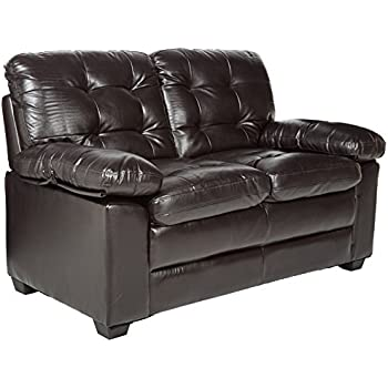 "Homelegance Charley 60"" Faux Leather Upholstered Love Seat, Dark Brown"