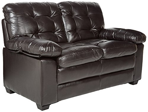 Homelegance Charley 60″ Faux Leather Upholstered Love Seat, Dark Brown