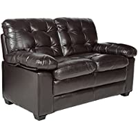 Homelegance Charley 60 Faux Leather Upholstered Love Seat, Dark Brown