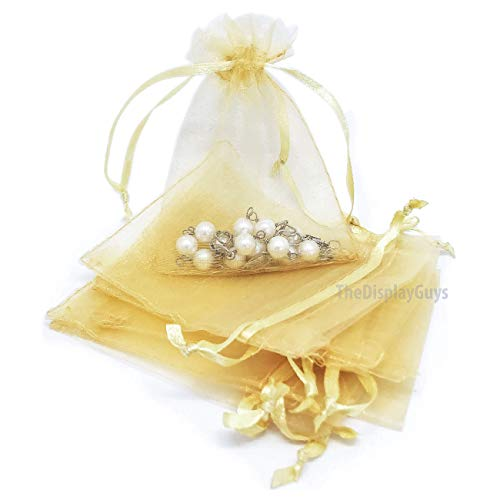 The Display Guys 100-pc 4x6 Gold Sheer Organza Gift Bag with Drawstring, Jewelry Candy Treat Wedding Party Favors Mesh Pouch