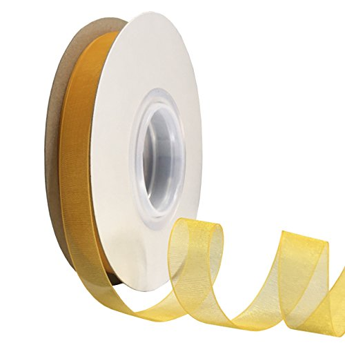 (DUOQU 1/2 inch Wide Shimmer Sheer Organza Ribbon 50 Yards Yellow Gold)