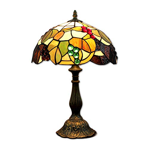 EuSolis 12 inch Stained Glass Grapes Tiffany Bedside Table Lamp E26 for Bedroom Living Room Retro Vintage Art Deco Designer Lamp TTL03 ()